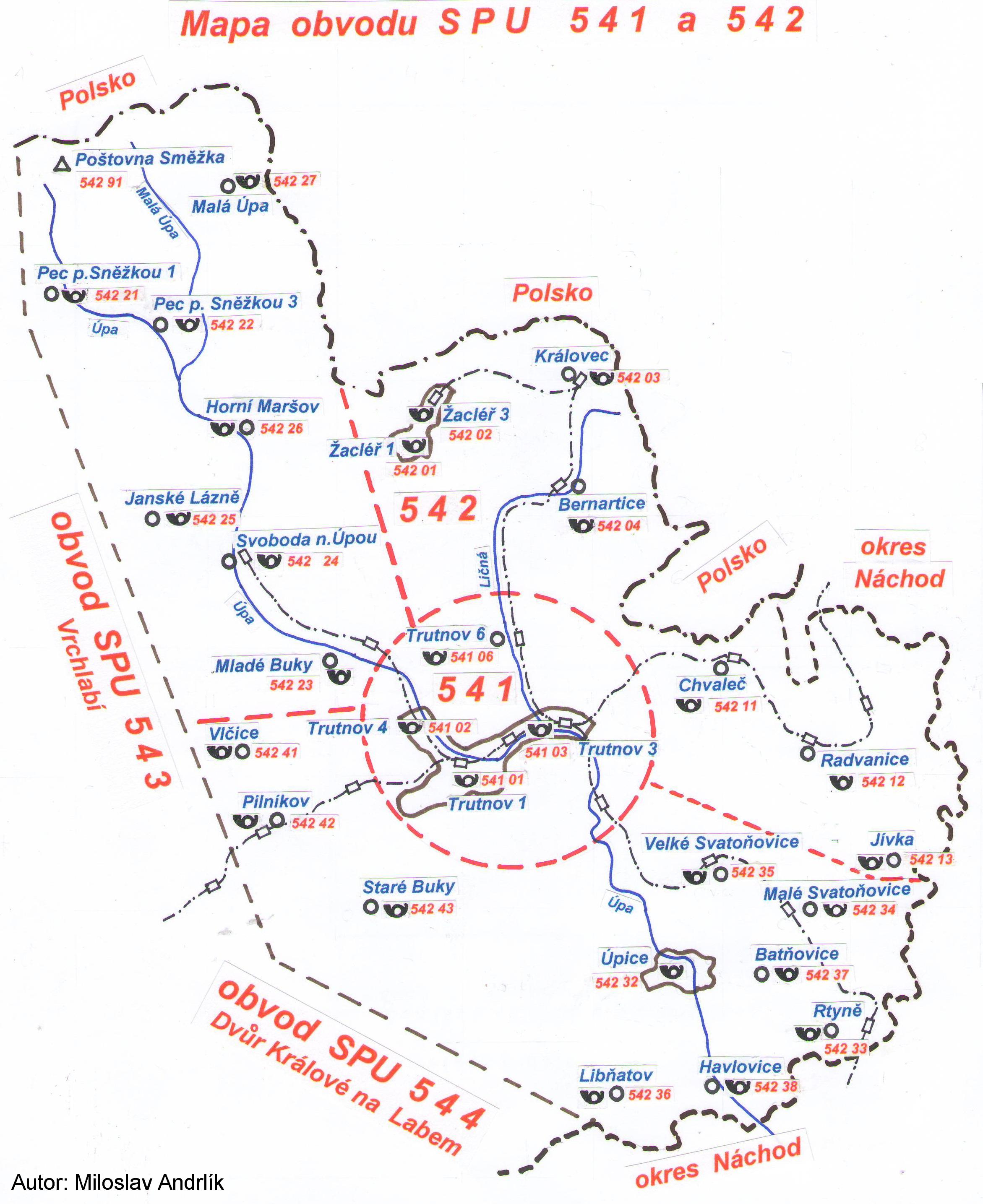 Mapa SPU Trutnov a Žacléř