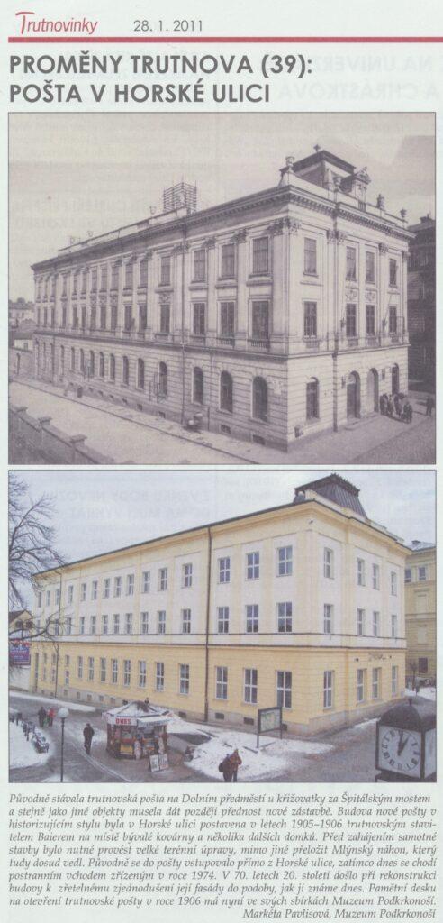 Trutnovinky: O budově pošty v Horské ulici