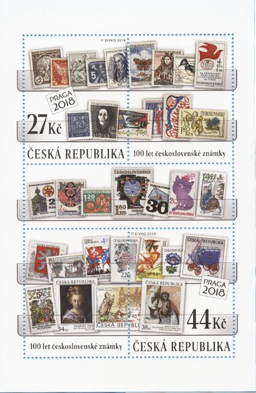 Poštovní aršík ČR č. A982-983 - 100 let československé poštovní známky