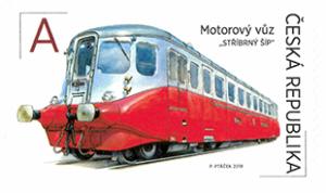 """Poštovní známka ČR č. 996 - Motorový vůz M 260.001 """"Stříbrný šíp"""""""