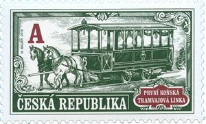 Poštovní známka ČR č. 1036 - První koňská tramvajová linka
