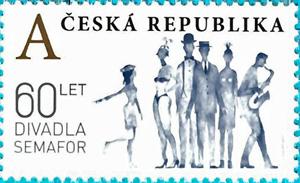 Poštovní známka ČR č. 1048: 60 let divadla Semafor