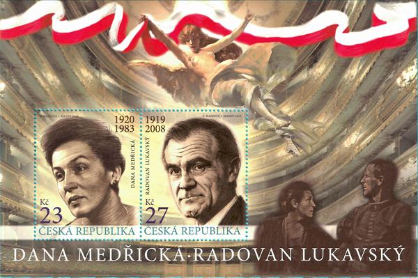 Aršík poštovních známek ČR č. A1049-1050: České herečky a herci