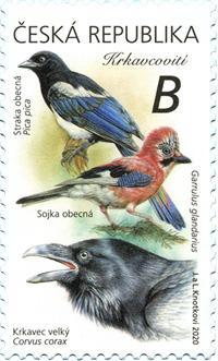 Známka ČR č. 1076 - Zpěvní ptáci: Krkavcovití